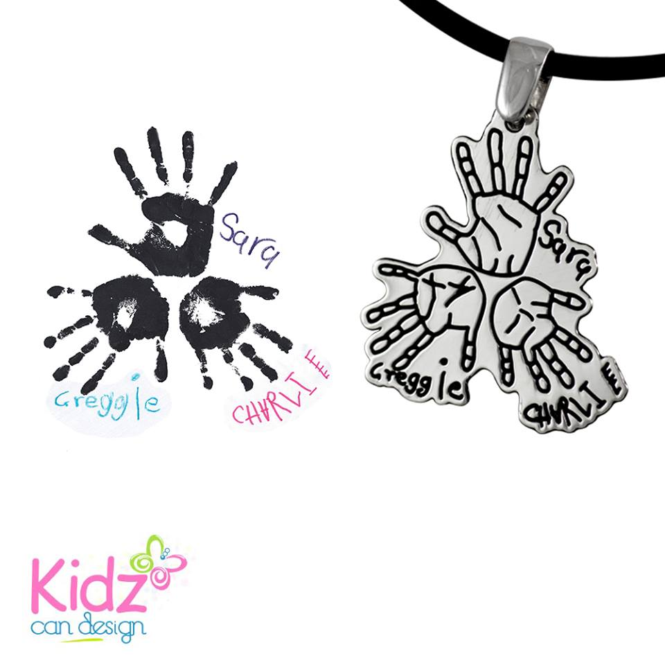 Turn your kids' handprints into a gorgeous sterling silver pendant!
