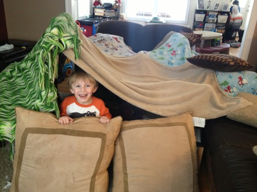 Building a fort can provide hours of fun on a rainy or snowy day!