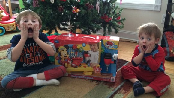 My boys were so excited and surprised when their Christmas Elves brought them this awesome workbench!