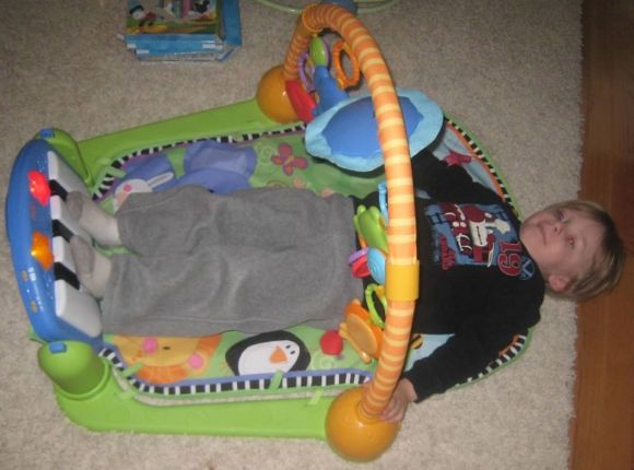Tyler had fun decorating his baby brother's room including trying out his new toys!