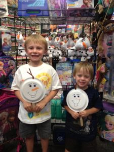 Everyone had so much fun making Olaf puppets after the Frozen Story Time at Learning Express.