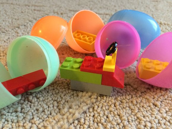Legos in Easter Eggs