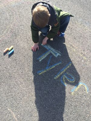 Writing Name with Chalk