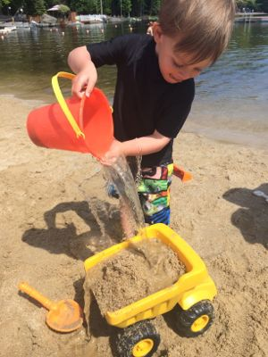 Construction toys are great for playing in sand!