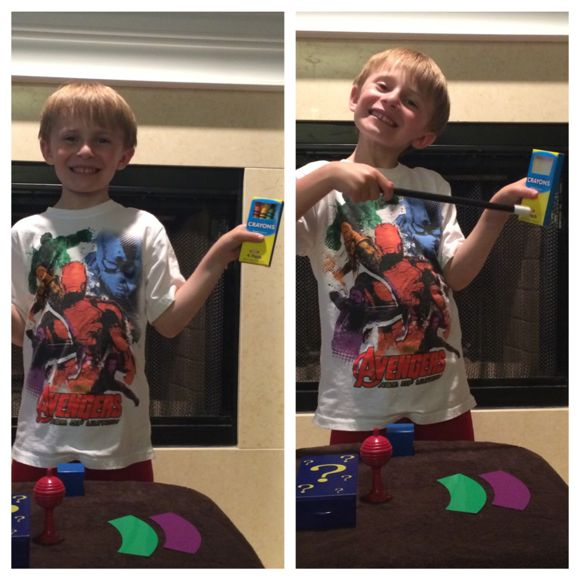 Tyler was so proud of himself when he mastered the disappearing crayons trick!
