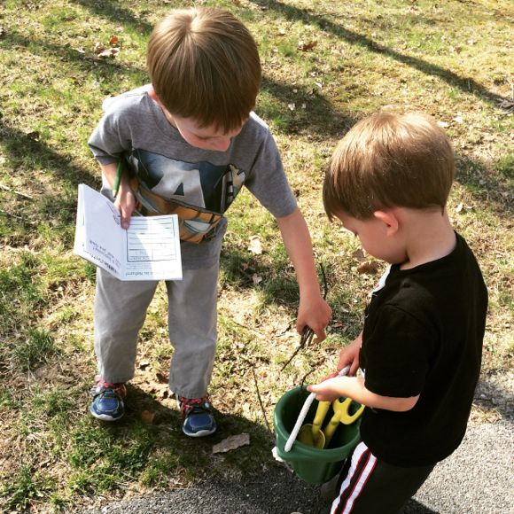 My boys had so much fun working together to find different objects in nature.