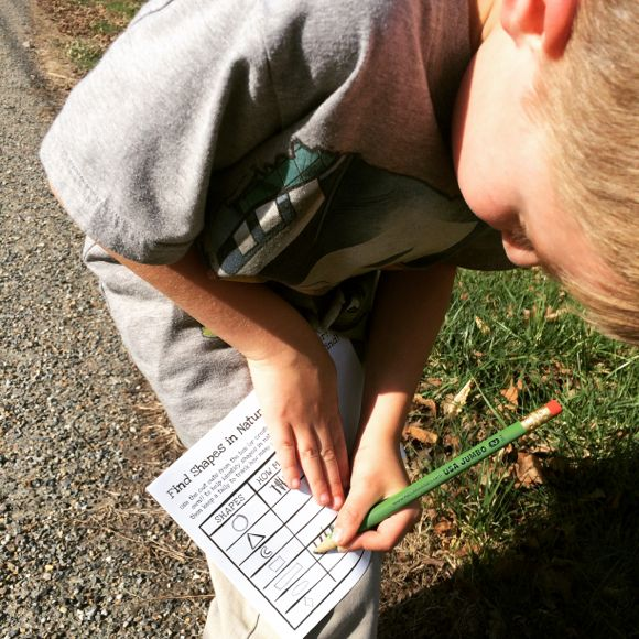 Tyler had so much fun tallying up all the shapes we found in nature. What a great introduction to Geometric concepts!