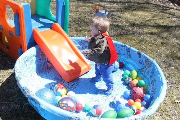 Your kids will have a blast if  you turn your pool into a ball pit!