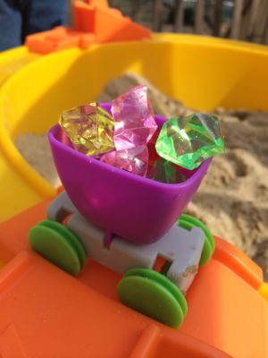 My kids had so much fun pretending they were one the Seven Dwarves mining for gems! (Note: Although this set comes with gems, the ones in this picture were my gems that added for even more excitement and fun!)