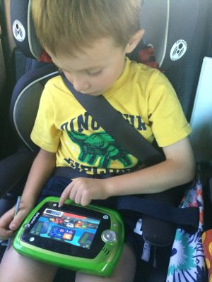 My boys can play on their LeapPads for hours during our road trips!