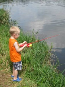 Kids have to learn how to carefully balance themselves while fishing!