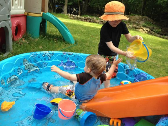 "By just adding a slide to your kiddie pool can change it from ""boring"" to awesome!"