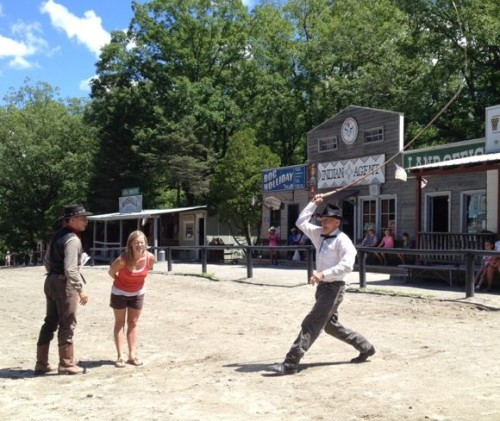"During our visit, Jessica was ""roped"" into the Bullwhip show!"
