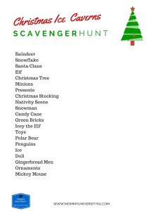 Christmas Ice Caverns Scavenger Hunt