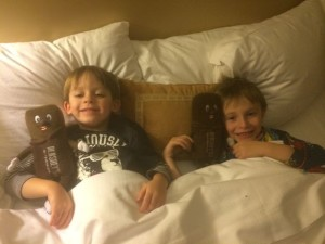 Kids Snuggled in Bed at The Hotel Hershey
