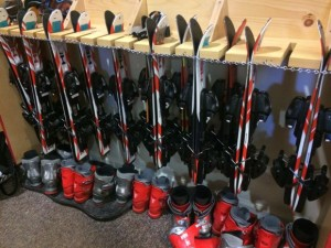 At Treasures, kids ages 2.5-3 years old are provided ski equipment and are encouraged to practice with their parents too!