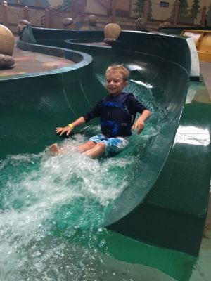 Each time visit Great Wolf Lodge my son tries a new water slide which helps him gain confidence!
