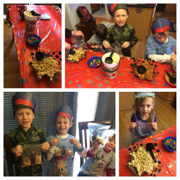 The kids had so much fun filling their Frozen Glad bags with trail mix!
