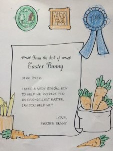 My boys were so excited to get a personal note from the Easter Bunny!