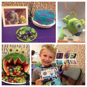 Here are some creative ideas from Monica's kids' Monsters Inc. party!