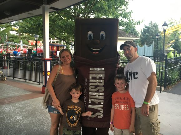 Family with Hershey Bar at Hersheypark