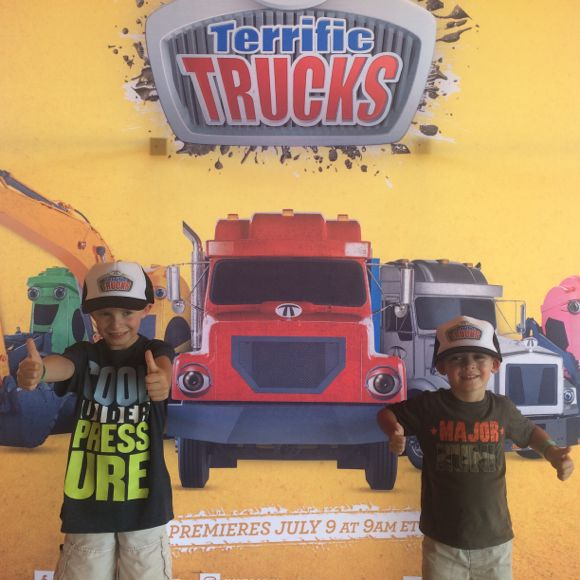 Terrific Trucks gets 2 thumbs up from these little Mommy University professors!