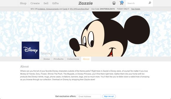 (Screenshot of Zazzle Page)