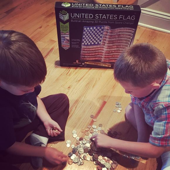 My boys learned to identify different coins while making the 3D Coin Art Flag.