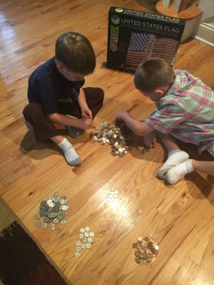 Sorting coins helps build skills such as visual scanning, fine motor and attention to detail.
