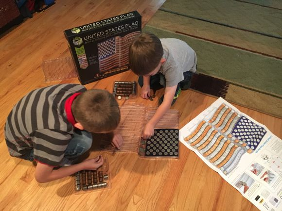 My boys had to figure out how many more coins they needed to complete the puzzle.