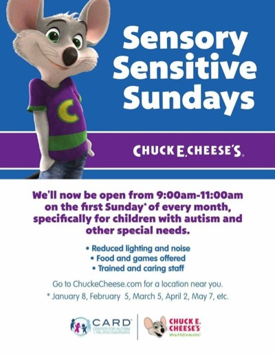 Chuck E Cheese's Sensory Sunday