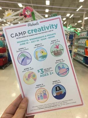 Michaels Camp Creativity Schedule