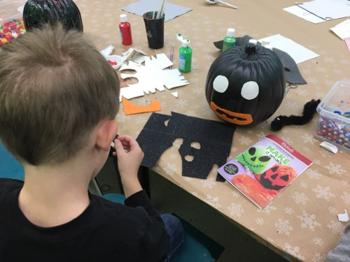 Making Pumpkin Craft at Michaels