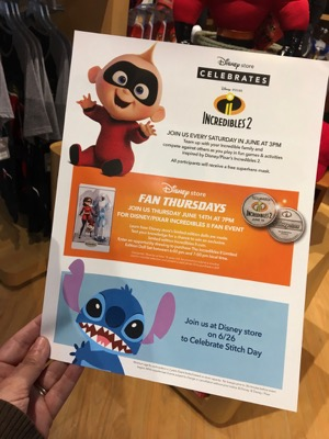 Incredibles Events at the Disney Store