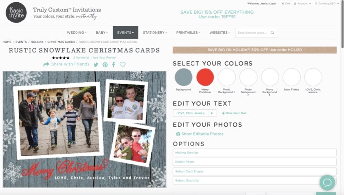 Screen Shot of Basic Invite Holiday Card