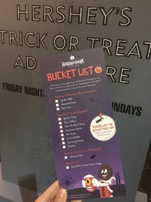 Hersheypark Trick or Treat List