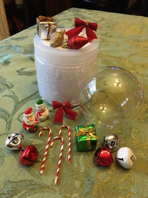 DIY I Spy Ornament supplies