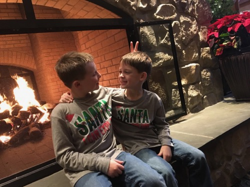 Brothers at Christmas in Hershey