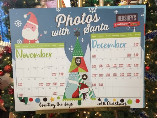 Santa's Schedule at Chocolate World
