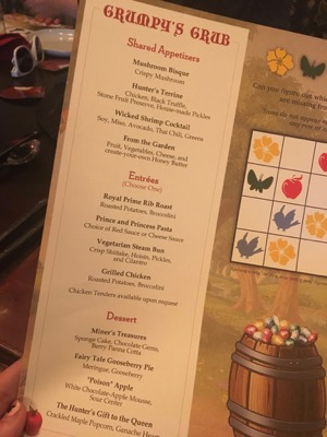 Kids Menu at Story Book Dining