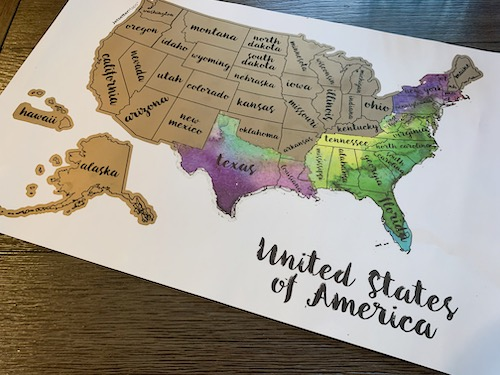 scratch map of the USA